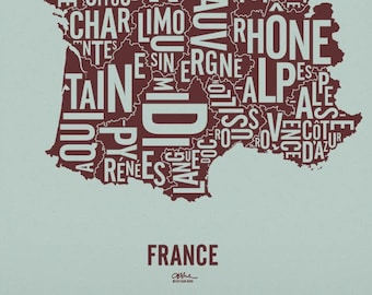 """FRANCE and its 22 Regions — 20x21"""" Map Poster — Screen Print"""