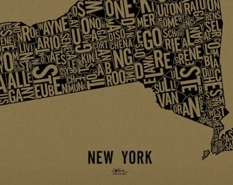 """NEW YORK and its 62 Counties — 24x19"""" Map Poster — Screen Print"""
