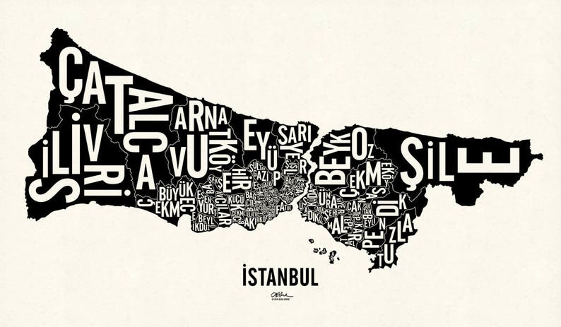 İSTANBUL and its 39 Districts  24x14 Map Poster  Newsprint Xtra White