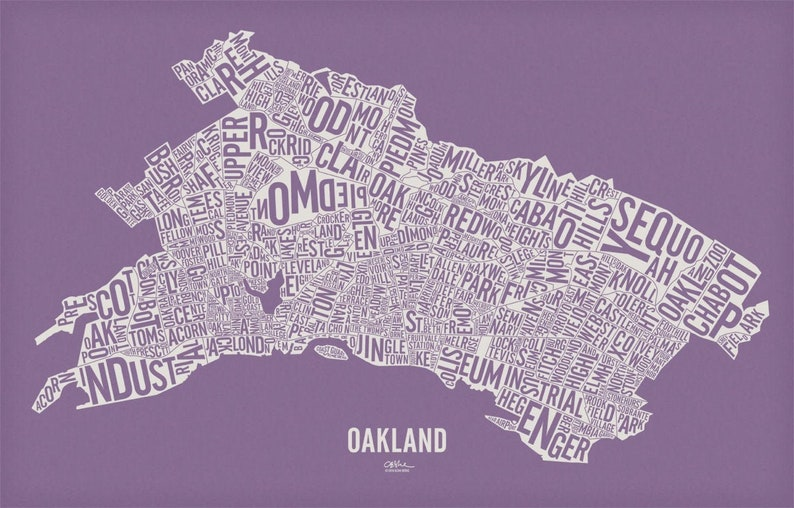 OAKLAND and its 146 Neighborhoods  25x16 Map Poster  Grape Jelly