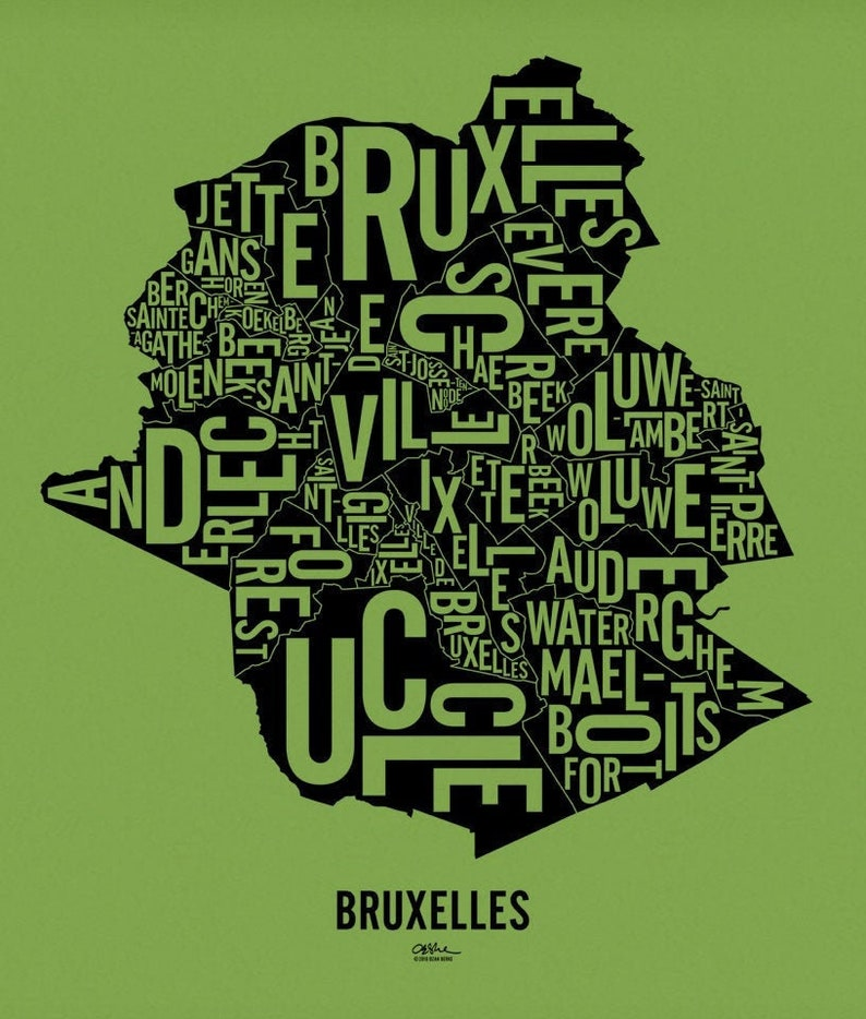 BRUXELLES and its 19 Communes  17x20 Map Poster  Gumdrop Green