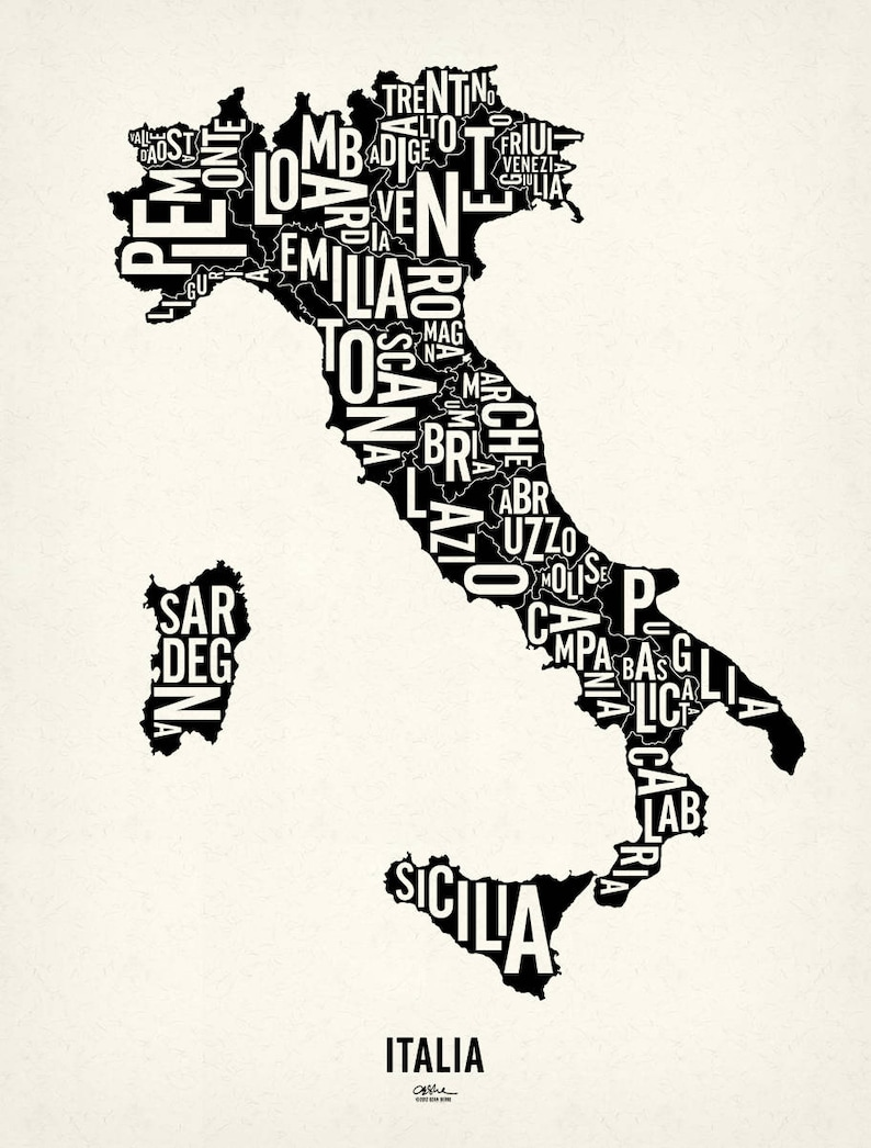 ITALIA and its 20 Regions  19x25 Map Poster  Screen image 0