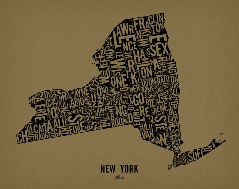NEW YORK and its 62 Counties  24x19 Map Poster  Screen image 0
