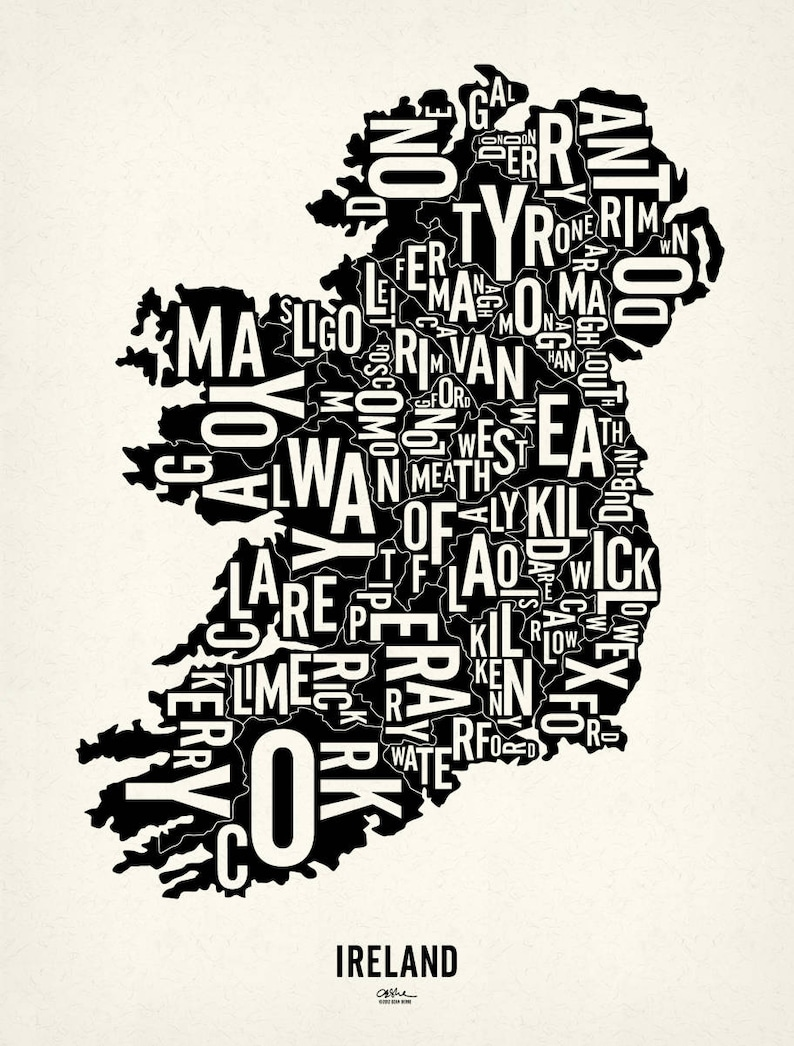 IRELAND and its 26 Counties  19x25 Map Poster  Screen Newsprint Xtra White
