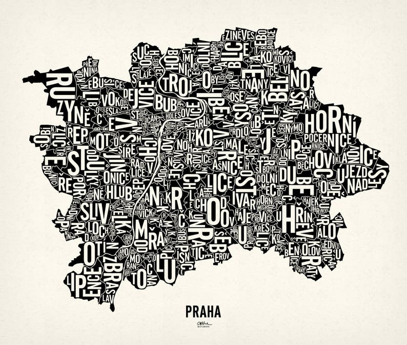 PRAGUE and its 112 Cadastres  26x22 Map Poster  Screen Newsprint Xtra White
