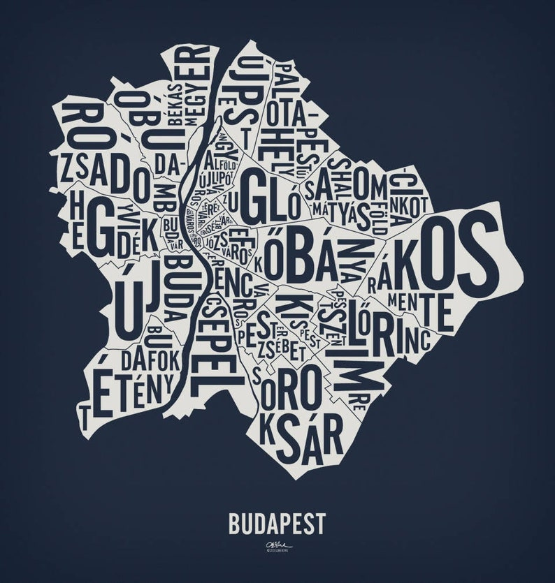 BUDAPEST and its 23 Districts  20x21 Map Poster  Nightshift Blue