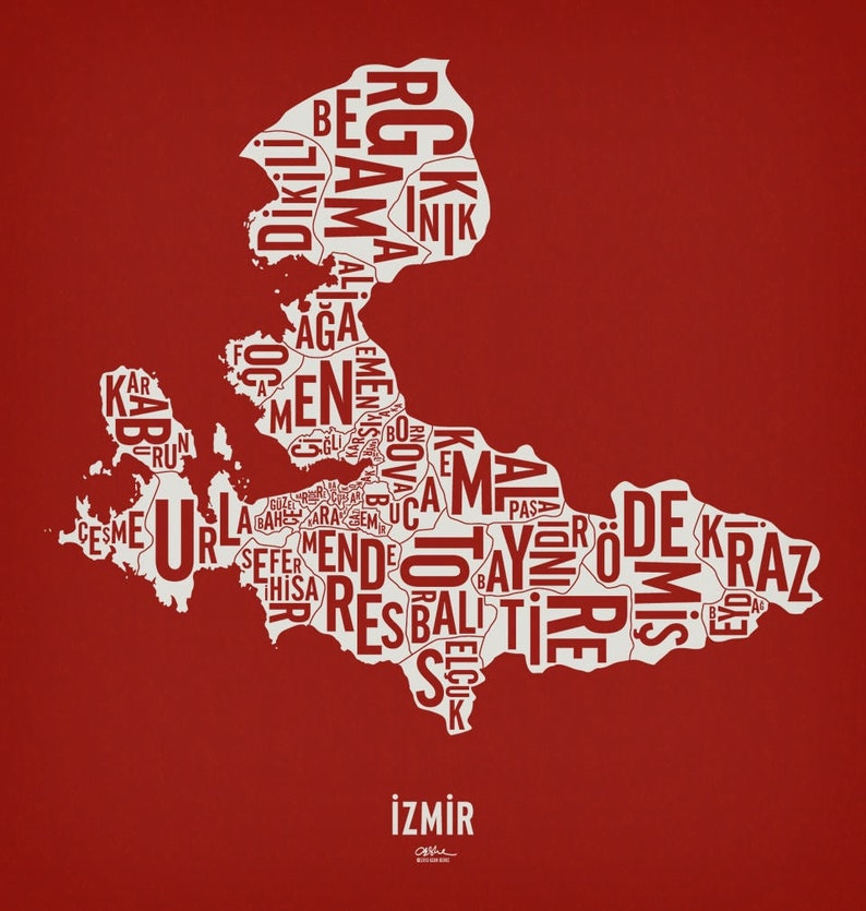İZMİR and its 30 Districts  20x21 Map Poster  Screen Electric Red