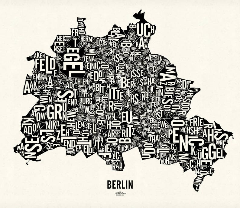 BERLIN and its 95 Localities  22x19 Map Poster  Screen Newsprint Xtra White