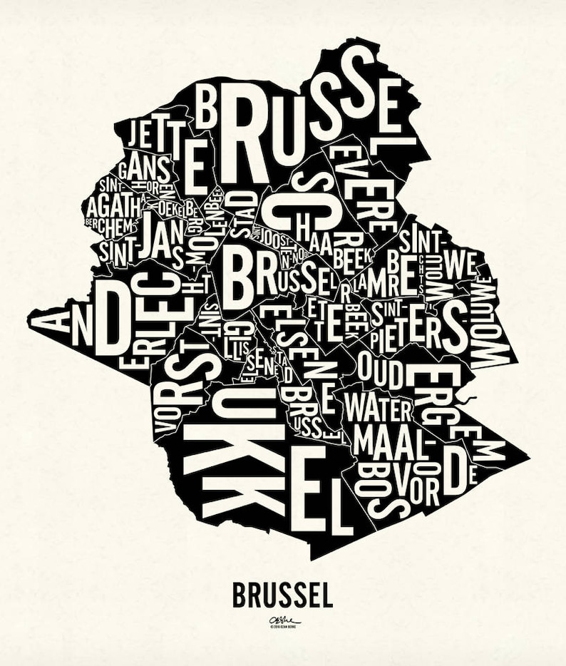BRUSSEL and its 19 Communes  17x20 Map Poster  Screen Newsprint Xtra White