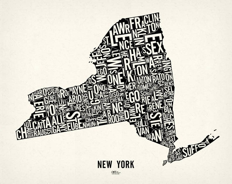 NEW YORK and its 62 Counties  24x19 Map Poster  Screen Newsprint Xtra White