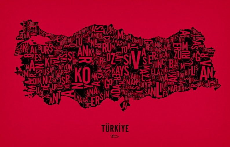 TÜRKİYE and its 81 Provinces  25x16 Map Poster  Screen Red Hot