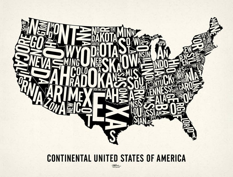 USA and its 48 Contiguous States  25x19 Map Poster  image 0