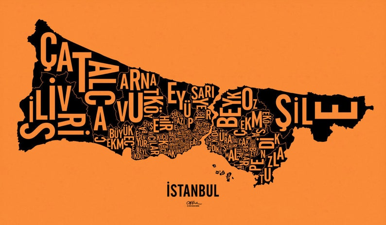 İSTANBUL and its 39 Districts  24x14 Map Poster  image 0