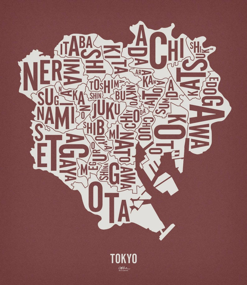 TOKYO and its 23 Special Wards  20x23 Map Poster  Paver Red