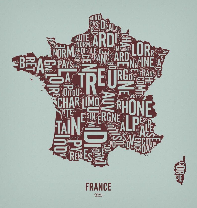 FRANCE and its 22 Regions  20x21 Map Poster  Screen image 0