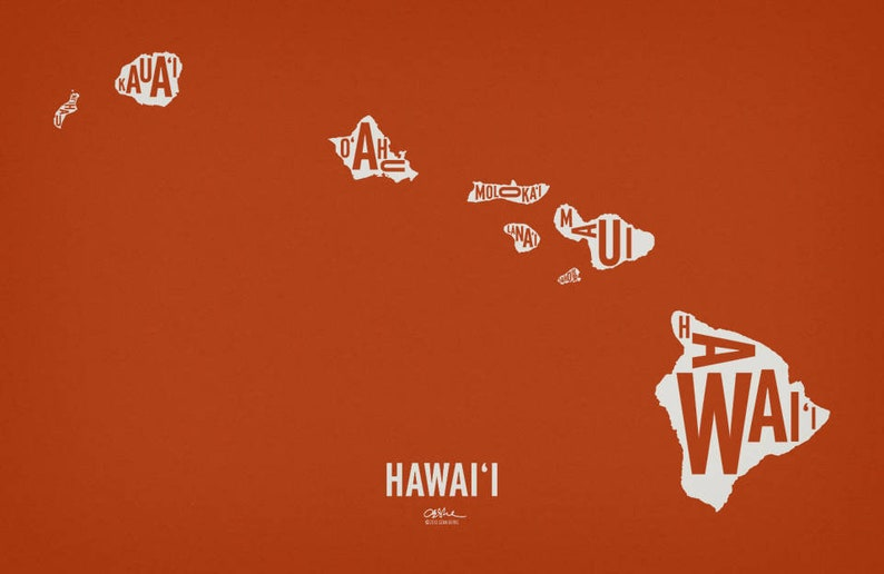 HAWAII and its 8 Islands  20x13 Map Poster  Screen Tangy Orange