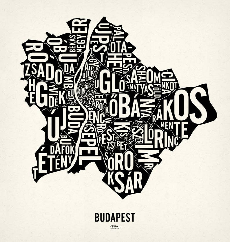 BUDAPEST and its 23 Districts  20x21 Map Poster  Newsprint Xtra White