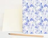 Large card (envelop included) • Vegetal pattern Ancolie • Handmade stationery