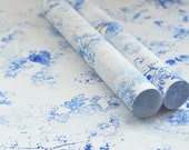 Handprinted japanese paper • Set of 2 large sheets • Wrapping & Decoration • Pattern Forest (blue)