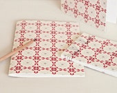 Handmade stationery set : 2 handbound notebooks and a card • Floral pattern Nordique