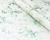 Handprinted japanese paper • Set of 2 large sheets • Wrapping & Decoration • Pattern Forest (green)