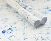 Handprinted japanese paper • Set of 2 large sheets • Wrapping & Decoration • Pattern Wild flowers (blue)