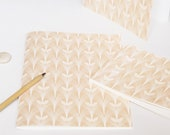 Handmade stationery set : 2 handbound notebooks and a card • Floral pattern Tulipe