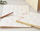 Handmade stationery set : 2 handbound notebooks and a card • Floral pattern Liberty