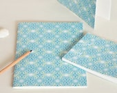 Handmade stationery set : 2 handbound notebooks and a card • Floral pattern Lotus
