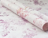 Handprinted japanese paper • Set of 2 large sheets • Wrapping & Decoration • Pattern Forest (pink)