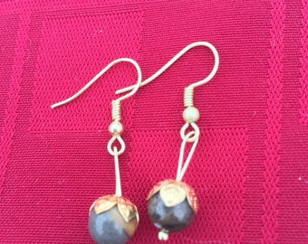 Black and gold amazonite earrings