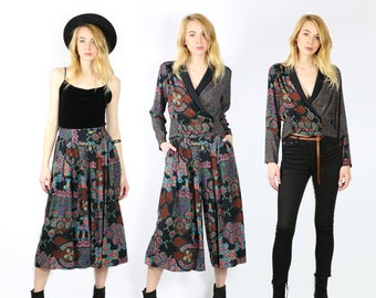 Vintage Set / Long Sleeve Top and Culottes / Gauchos / Pants / 90s Two-piece Matching Set