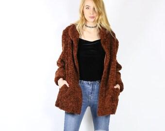 Rust Brown Faux Fur Coat - Fuzzy Coat