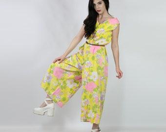 cde93721360 60s   70s Wide Leg Floral Jumpsuit - Retro Floral Print Jumper - 1960s    1970s   Flower Power Jumpsuit   Mellow Yellow Hippie Romper