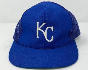 5d4ab34fbd360 ... kansas city royals cap snap back baseball hat vintage blue mesh hat