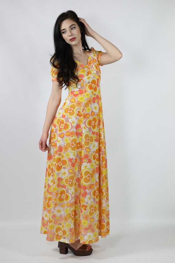 05768ef31ce 60s   70s Flower Power Maxi Dress Orange abd Yellow Hippie