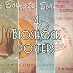 4 Bioshock Inspired Vintage Style Video Game Art Posters Prints