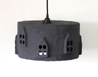 City Light Black a Paper Pulp lampshade | Handmade | Paper Mache | Eco |
