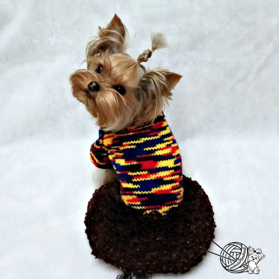 Hand Knit Dog Sweaters Clothing Chihuahua Clothes Soft for Small Dogs Pet Puppy