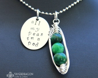 "Custom Made to Order ""All my peas in a pod"" Stainless Steel/Sterling Silver Necklace"