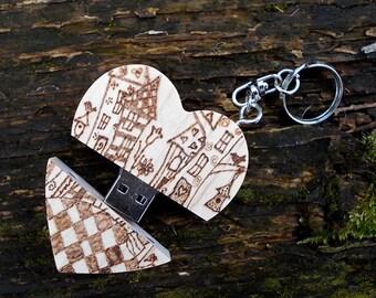8 GB Personalized USB wooden 2.0 Pendrive Flash Pen Drive Storage Heart metal box