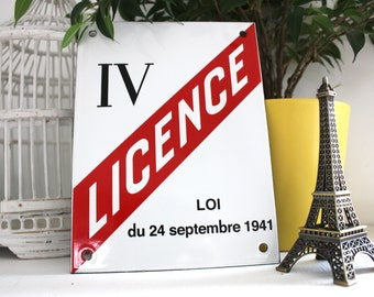 French enamel sign Alcohol permission 6 x 7.9 in / Authentic bar decoration / Vintage enamel plaque for home decoration