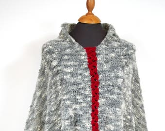 Poncho Knitted in light grey Alpaca, with red braid, handmade, coarse knit