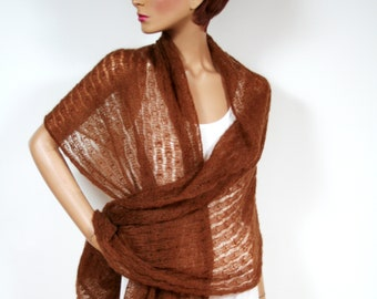 Mohair stole in Emperador-brown, chocolate brown, handmade, summer stole, transparent, summer accessory, XL