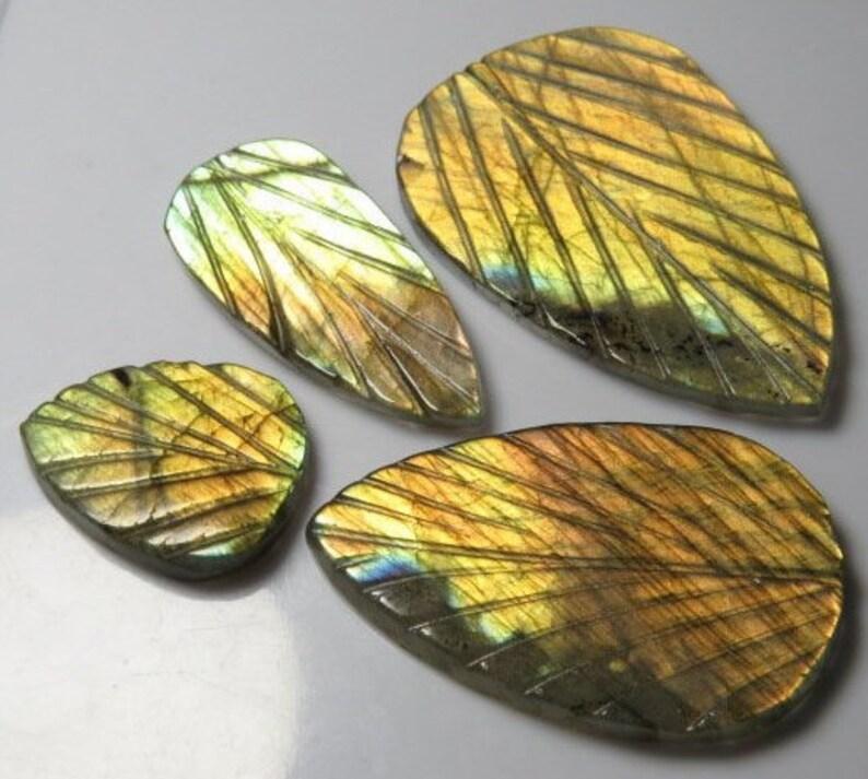 4pcs LABRADORITE High Quality Size 16x21-27x40 mm Both Side Carving Leafs Leaf Shape Amazing Flashy Fire