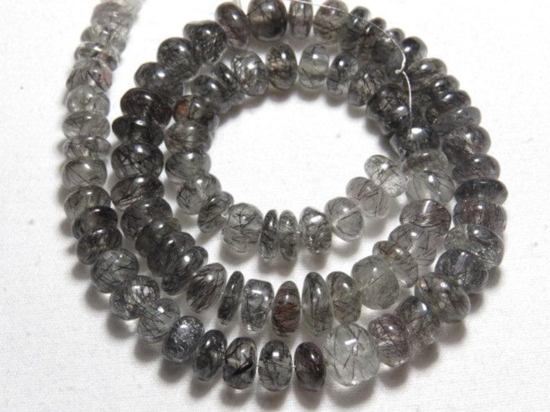 RUTILED QUARTZ Black-16 /'/' inches Long Strand Nice Cut plain polished Rondell Beads big size 7-9 mm weight 199 crt