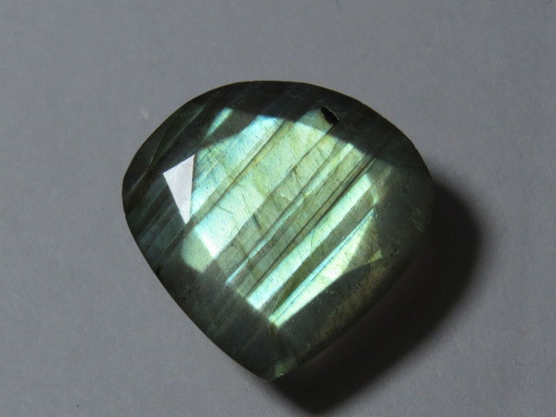 17x17 mm Heart Shape Faceted Both Side Cut Stone Size LABRADORITE weight 13.45 crt