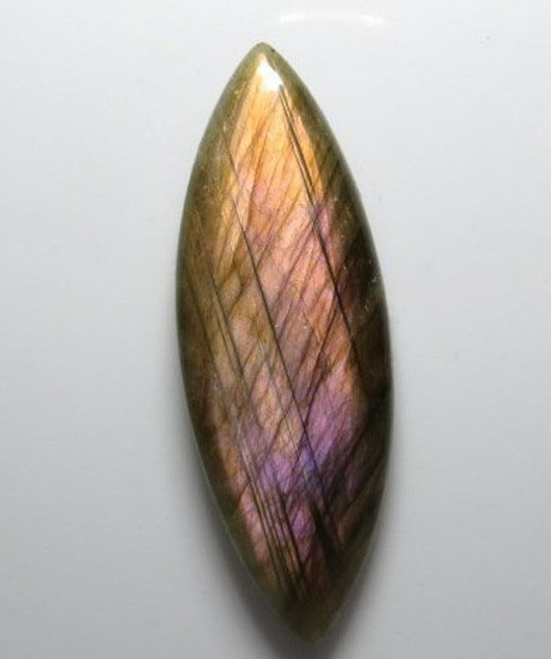 Strong Flash Purple Fire weight 34.85 crt LABRADORITE Marquise Shape Cabochon Size 17x49 mm