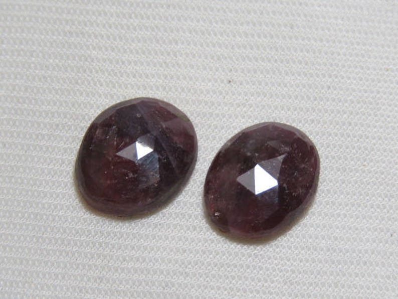 Size 12x15 mm Fine Cut Rose Cut Slices Pair Weight 20.95 crt Sapphire Natural Red Color
