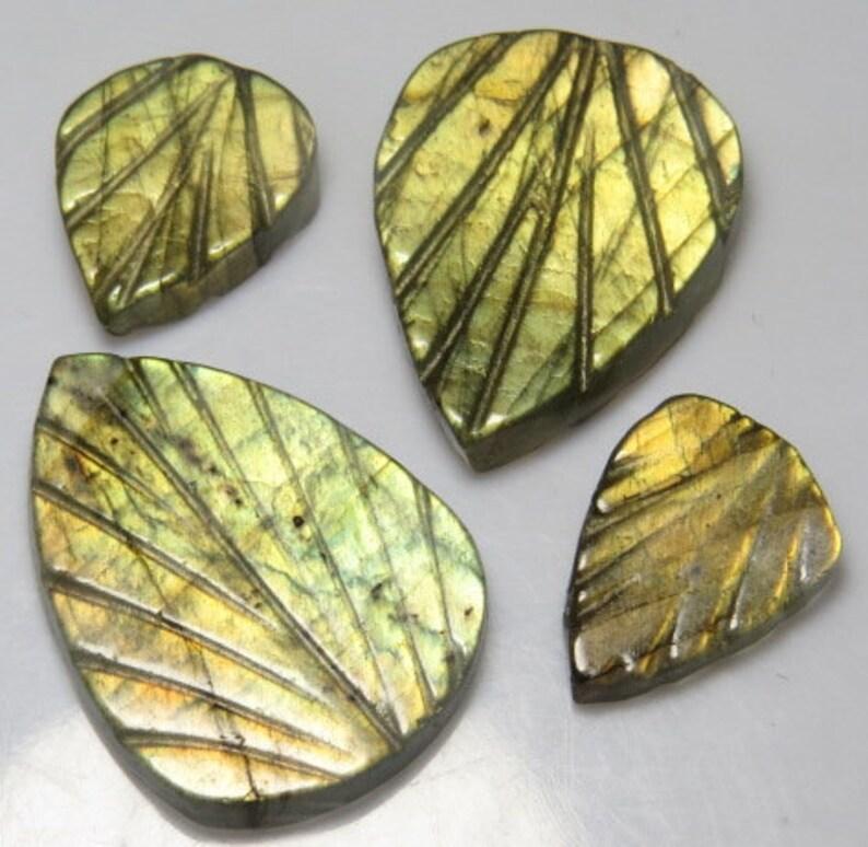 LABRADORITE 4pcs High Quality Size 10x14-17x23 mm Leaf Shape Amazing Flashy Fire Both Side Carving Leafs